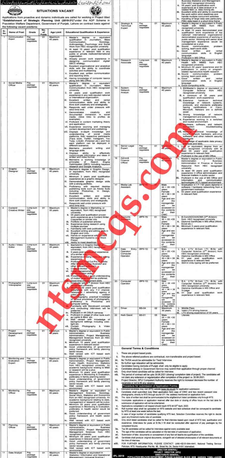 Population Welfare Department Punjab NTS Roll No Slip 2021