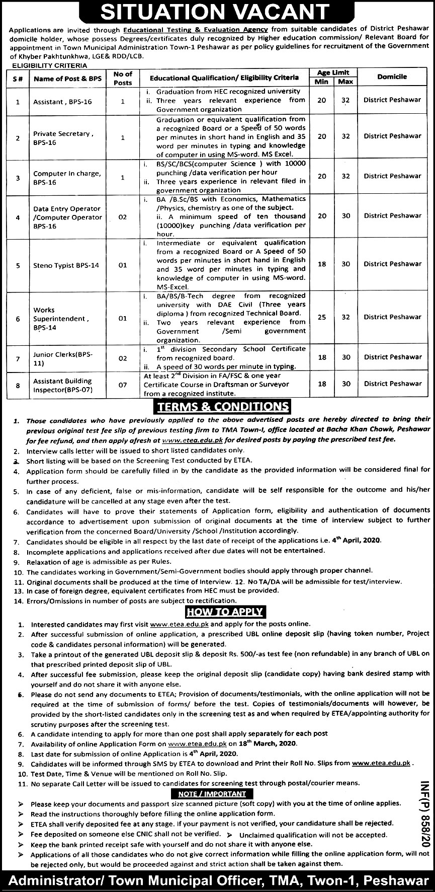 Town Municipal Administration Peshawar ETEA Jobs 2021 Application Form Eligibility Criteria