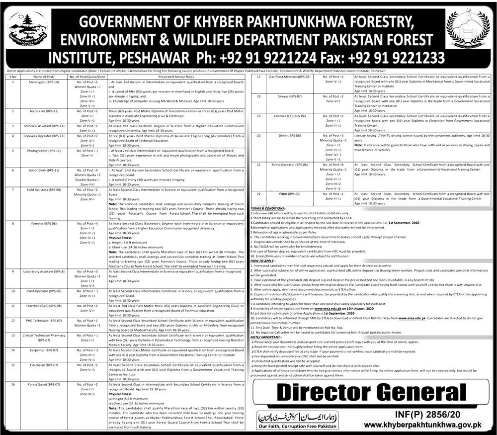 KPK Forestry Environment & Wildlife Department ETEA Jobs 2020 Apply Online Roll No Slip