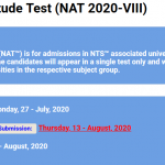 National Aptitude Test NAT VIII 2020 NTS Apply Online