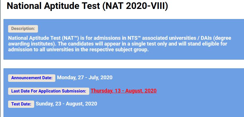 National Aptitude Test NAT VIII 2021 NTS Apply Online