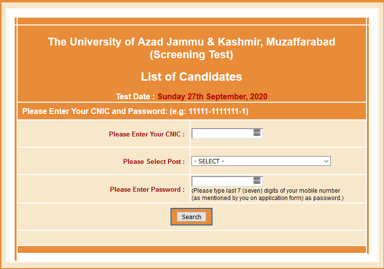 NTS AJK University Muzaffarabad Roll No Slip Download Online By Name & CNIC