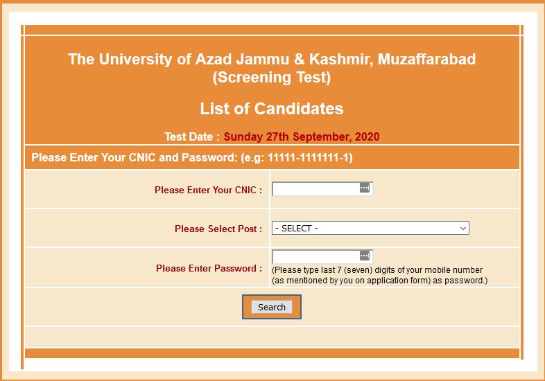 NTS AJK University Muzaffarabad Roll No Slip Download Online By Name & CNIC