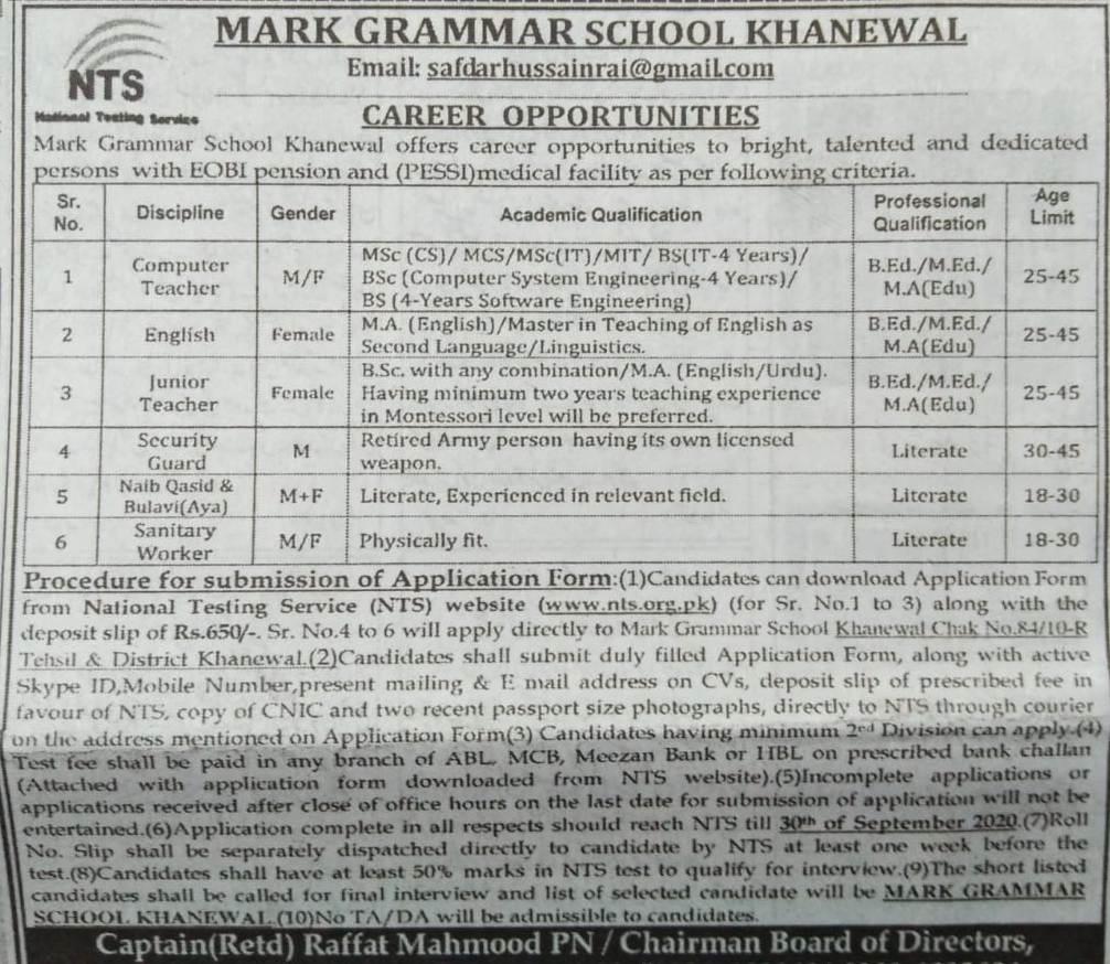 Mark Grammar School Khanewal NTS Jobs 2021 Application Form Download Online