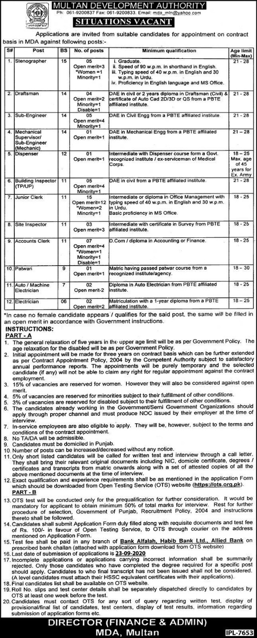 OTS Multan Development Authority MDA Jobs 2021 Application Form Roll No Slip