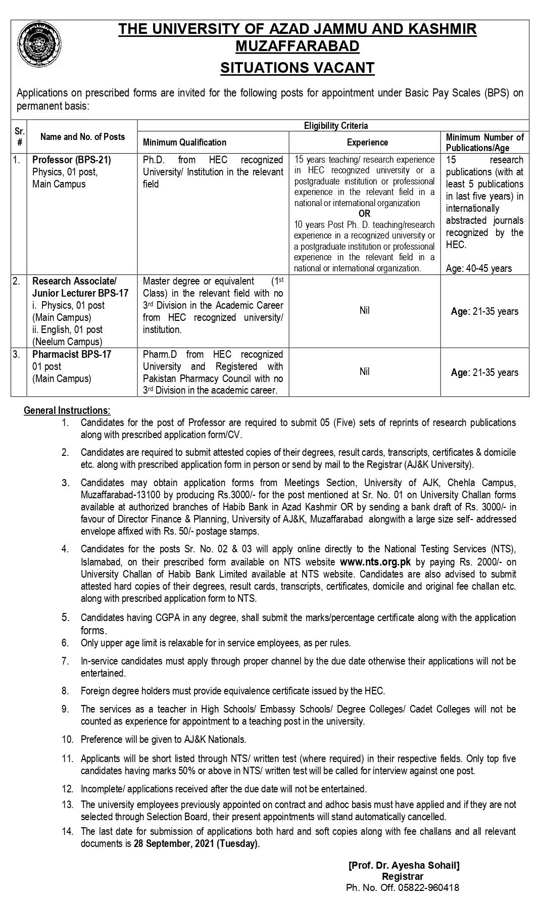 University of Azad Jammu And Kashmir Muzaffarabad NTS Jobs 2021 Apply Online
