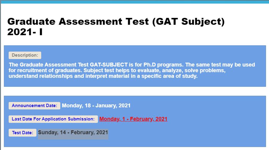 Graduate Assessment Test GAT General 2021-I NTS Apply Online