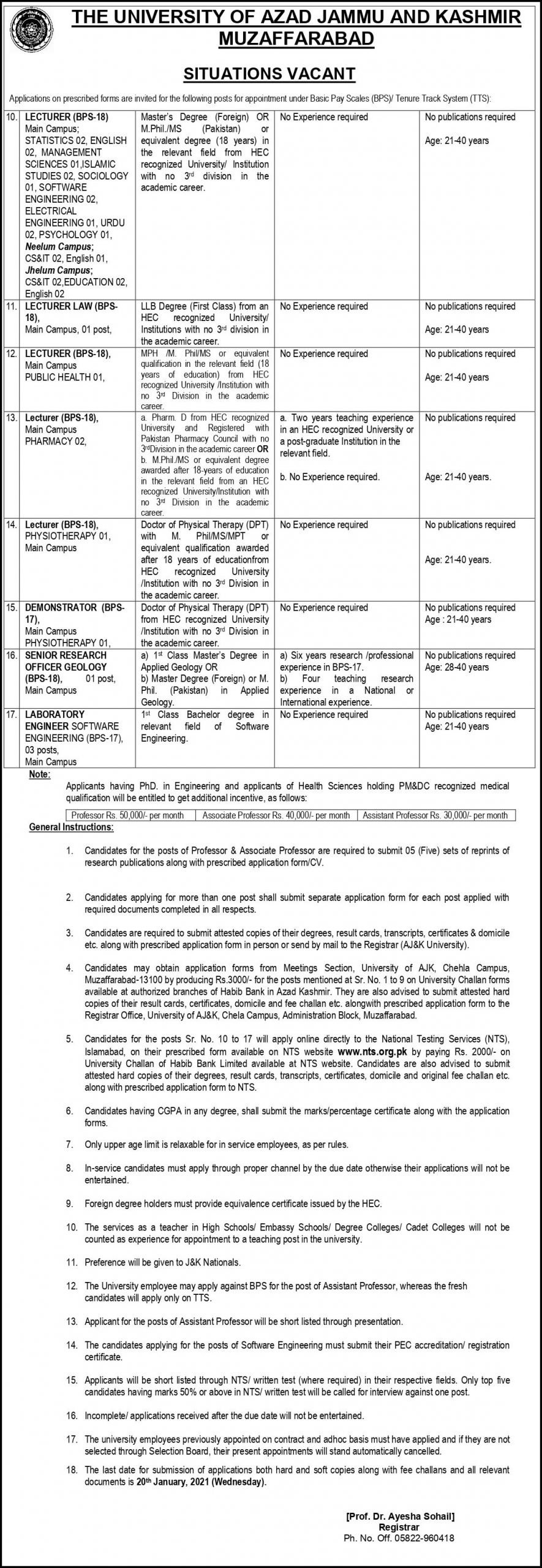 University of Azad Jammu And Kashmir Muzaffarabad NTS Jobs 2021 Apply Online