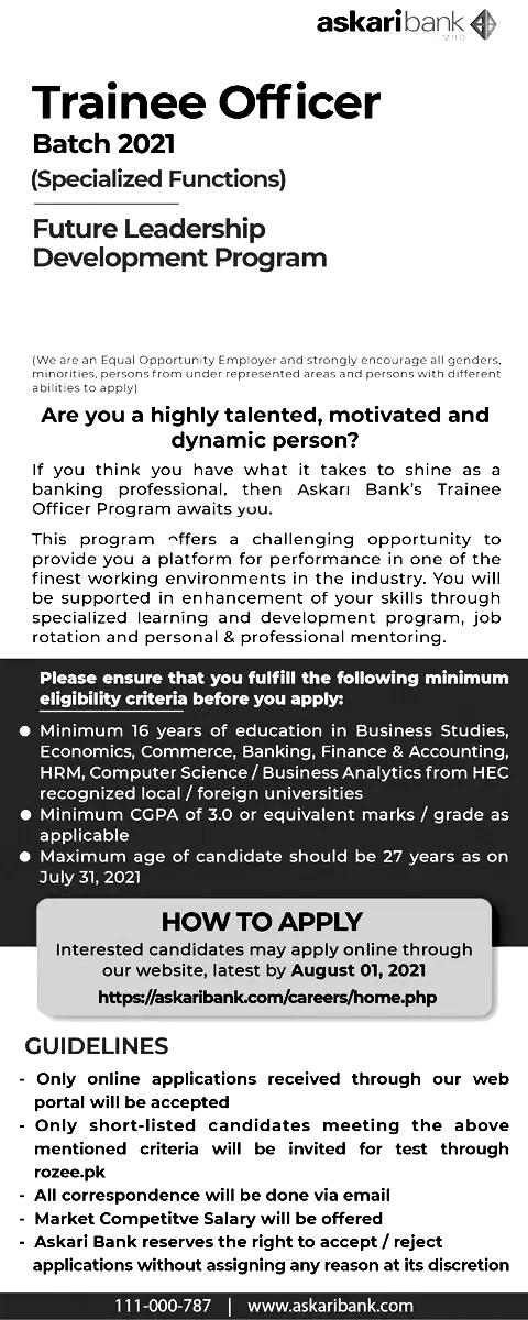 Askari Bank Trainee Officer Jobs 2021 Apply Online Eligibility Criteria