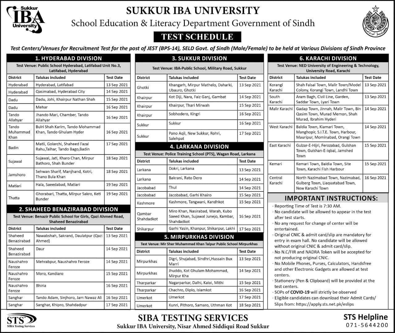 Sindh Educator JEST & PST Jobs 2021 STS Roll No Slip