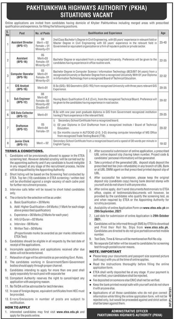 ETEA Pakhtunkhwa Highways Authority PKHA Jobs 2021 Apply Online